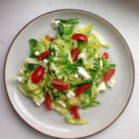 Warm Brussels Sprout Salad with Feta and Tomatoes