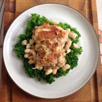 Mustard Crusted Chicken with White Beans and Kale