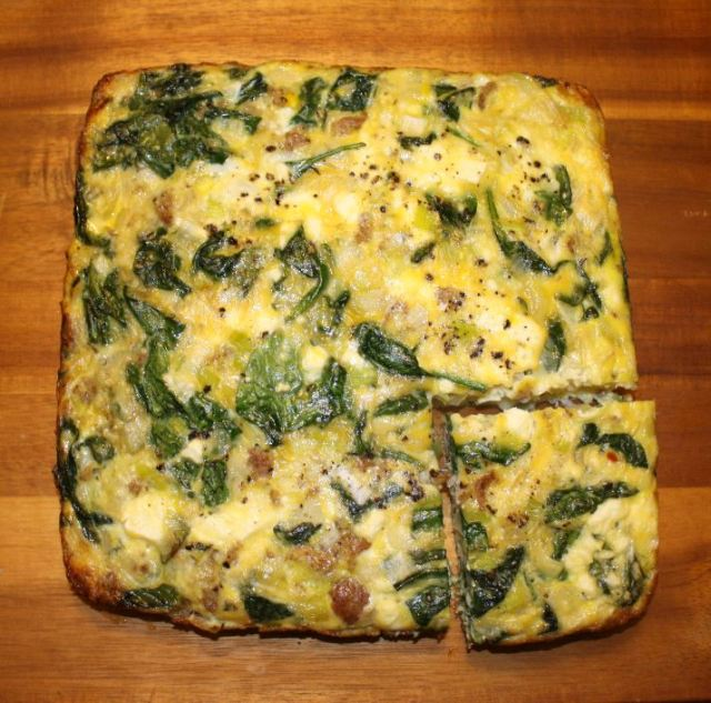 sausage leek spinach breakfast bake