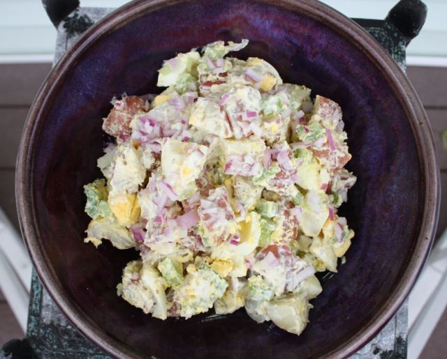 summer potato salad egg red onion celery yogurt