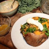 Baked Sweet Potatoes Stuffed with Curried Veggies