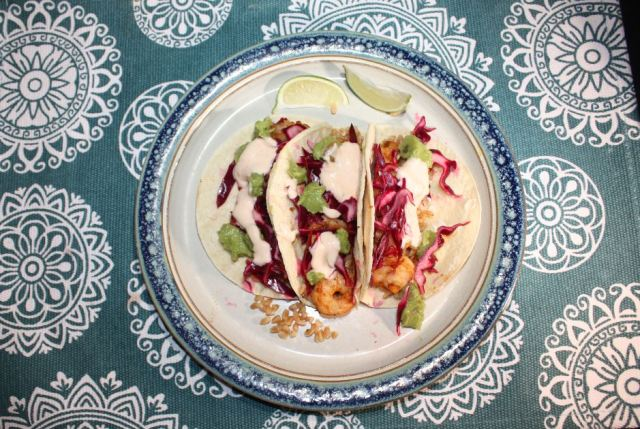 shrimp tacos w farro red onion chipotle lime mayo