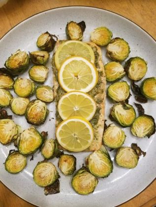sheet pan rosemary garlic lemon salmon and brussels sprouts_2