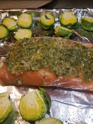 sheet pan rosemary garlic lemon salmon and brussels sprouts_3
