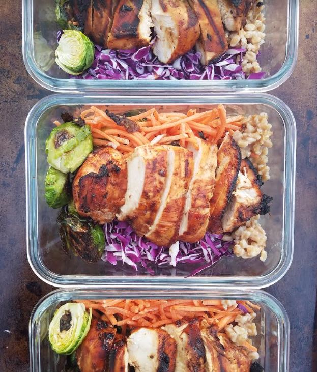 bbq chicken grain bowl meal prep lunches make ahead brussels carrots red cabbage