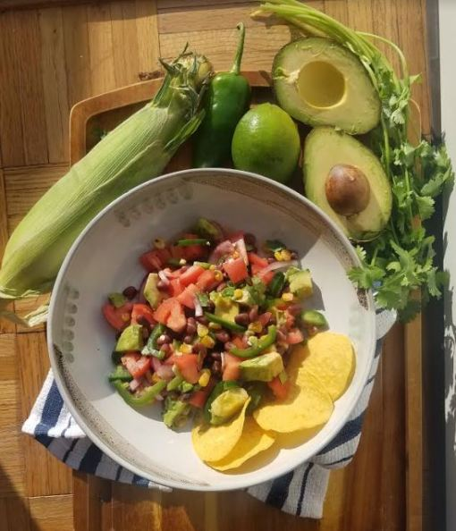 summer salsa black bean avocado jalapeno corn cilantro.JPG