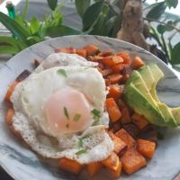 Sweet Potato Hash browns with Avocado