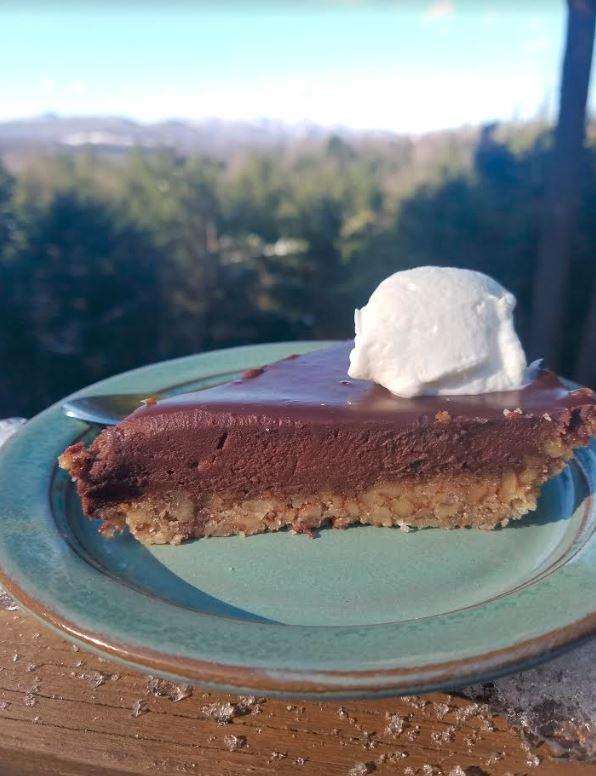 chocolate tart with a pecan crust.JPG