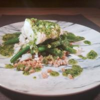 Pesto Poached Cod Over Green Beans and Farro