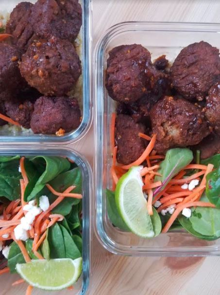 Turkey Meatballs with a Spicy Molassas Sauce Make ahead lunch meal prep.JPG