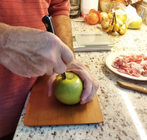 coring an apple before adding butter